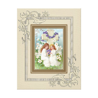 Cute Angels With Cross And Flowers. Canvas Print