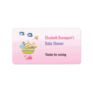 Cute Animal Ark Baby Shower Pink Label