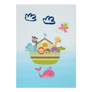 Cute Animal Ark with a Butterfly and Whale Poster