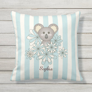 Cute Animal Baby Koala Kids Name Pastel Blue Outdoor Cushion