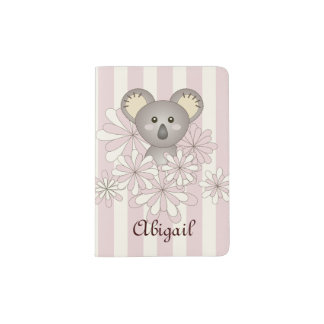Cute Animal Baby Koala Pink Striped Kids Name Passport Holder