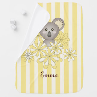 Cute Animal Baby Koala Yellow Striped Name Pram blanket