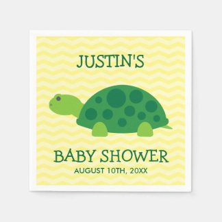 Cute animal baby shower napkins with green turtle disposable serviette