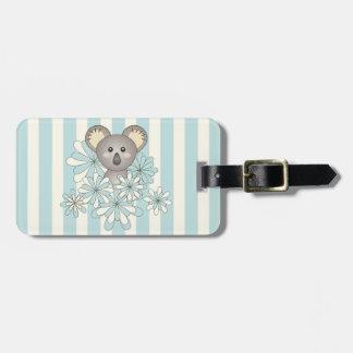Cute Animal Cartoon Baby Koala Pastel Blue Kids Luggage Tag