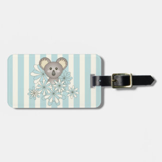 Cute Animal Cartoon Baby Koala Pastel Blue Striped Luggage Tag