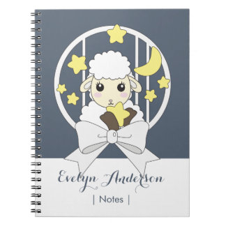 Cute Animal Cartoon Lamb and Ribbon Kids Name Notebook