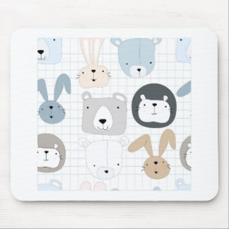 Cute animal cartoon teddy bear ,lion and rabbit mouse pad