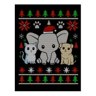 cute animal christmas postcard