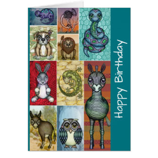 Cute Animal Collage Folk Art Design Birthday Card