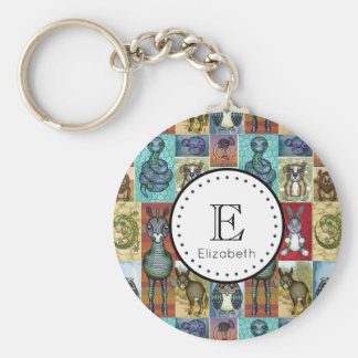 Cute Animal Collage Folk Art Design Personalized Basic Round Button Key Ring
