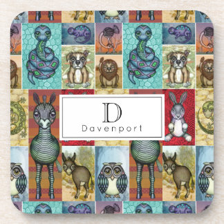 Cute Animal Collage Folk Art Design Personalized Coaster