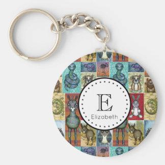 Cute Animal Collage Folk Art Design Personalized Key Ring