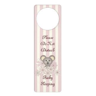 Cute Animal Do Not Disturb Baby Girl Nursery Pink Door Hanger