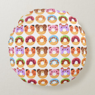 Cute Animal Donut Friends Polyester Round Pillow