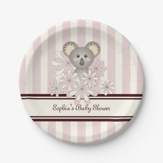 Cute Animal Girl Baby Shower | Kids Birthday Pink Paper Plate