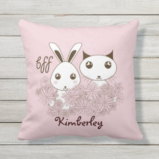 Cute Animal Girl Best Friends Kids Name Pink Throw Pillow