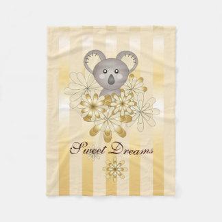 Cute Animal Gold Effect Stripe Personalised Kids Fleece Blanket