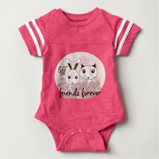 Cute Animal Illustration Girl Best Friends Custom Baby Bodysuit