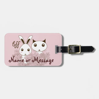 Cute Animal Kids Best Friends Personalized Pink Luggage Tag