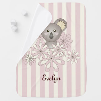 Cute Animal Koala Cartoon Girl Name Pink Striped Baby Blanket