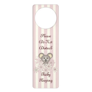 Cute Animal Koala Do Not Disturb Baby Girl Pink Door Hangers