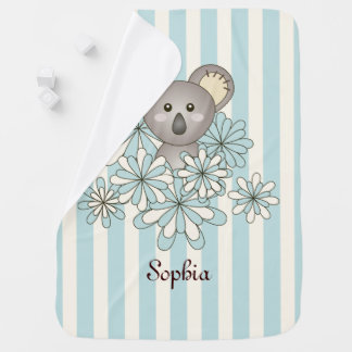 Cute Animal Koala Pastel Blue Stripe Personalised Swaddle Blankets