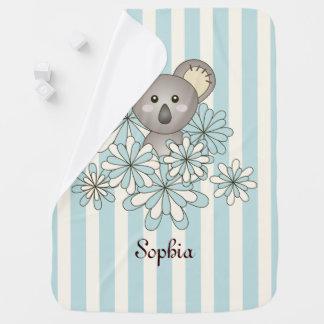 Cute Animal Koala Pastel Blue Stripe Personalized Baby Blanket