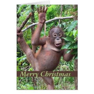 Cute Animal Merry Christmas Orangutan Baby Greeting Card