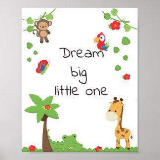 Cute animal nursery poster, dream big inspiration poster