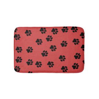 Cute Animal Paw Print Pattern Black Bath Mat