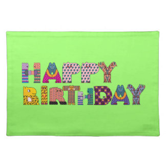Cute Animal People Pattern Happy Birthday Letters Placemat