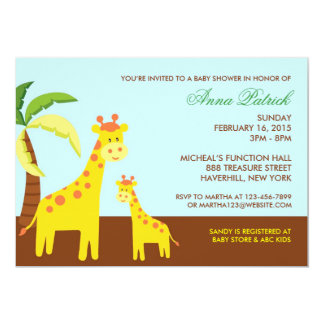 "Cute Animals Baby Shower Flat Invitation 5"" X 7"" Invitation Card"