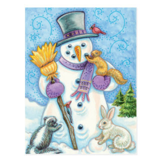 Cute Animals Building a Snowman for Christmas Postcard
