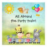 Cute Animals & Girl in Train Birthday Party Custom Announcement