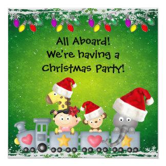 Cute Animals & Girl on Train ChristmasParty 13 Cm X 13 Cm Square Invitation Card