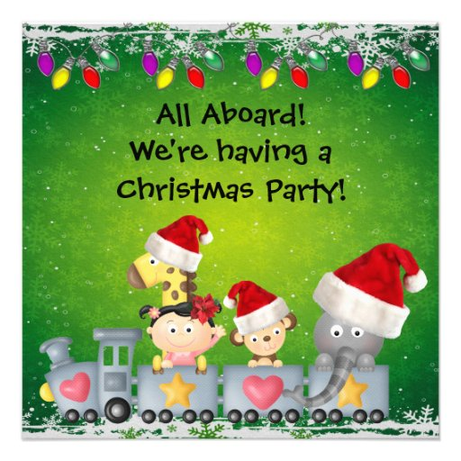 Cute Animals & Girl on Train ChristmasParty Personalized Announcements