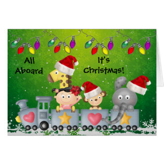 Cute Animals & Girl on Train Colorful Christmas Cards