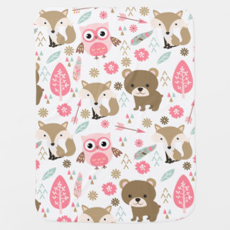 Cute Animals in Pastel Pattern Baby Blanket