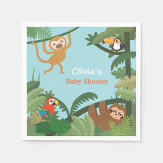 Cute Animals Jungle Theme Baby Shower Supplies Disposable Serviette