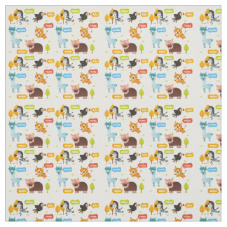 Cute Animals Kids Pattern Fabric