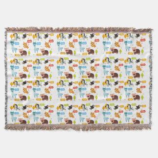 Cute Animals Kids Pattern Throw Blanket