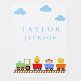 Cute Animals on Train Baby Blanket