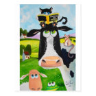 Cute animals painting Cow cat sheep frog Postcard