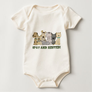 Cute Animals Spay and Neuter Text Baby Bodysuit