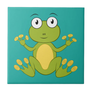 Cute animated frog small square tile