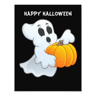 Cute animated Ghost with Pumpkin 11 Cm X 14 Cm Invitation Card