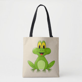 Cute animated green frog tote bag