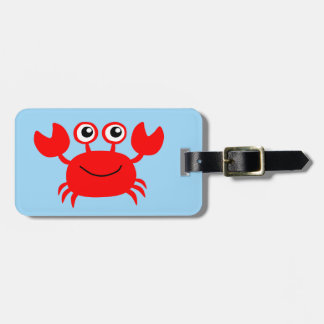 Cute animated happy crab background luggage tag