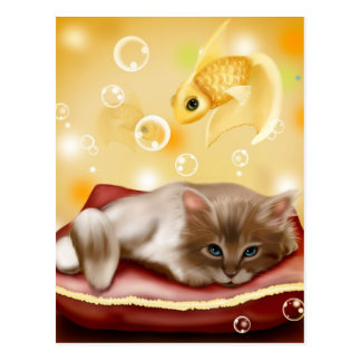 Cute animated kitten dreaming postcard
