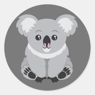 Cute Animated Koala Bear Classic Round Sticker